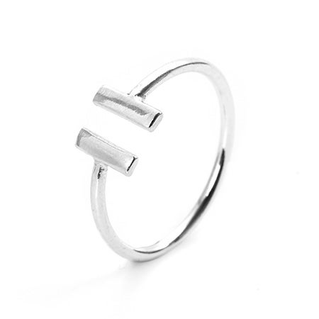 Sterling Silver Double Bar Ring | Eve's Addiction®