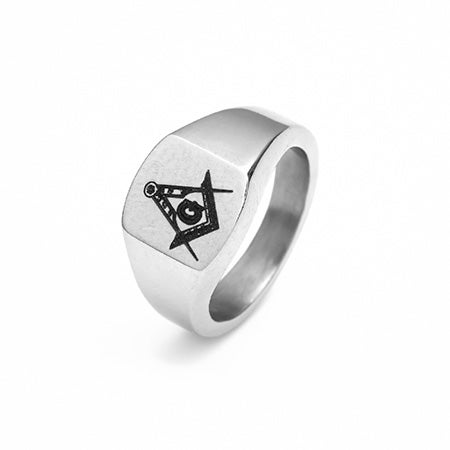 Engravable Stainless Steel Masonic Emblem Ring | Eve's Addiction®