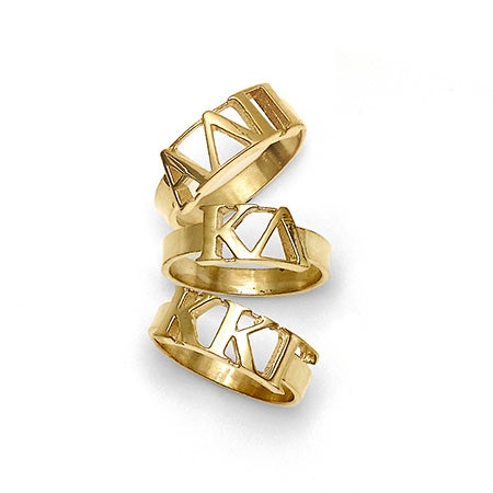 Sorority Greek Letter Handcrafted Ring in Gold | Eve's Addiction®
