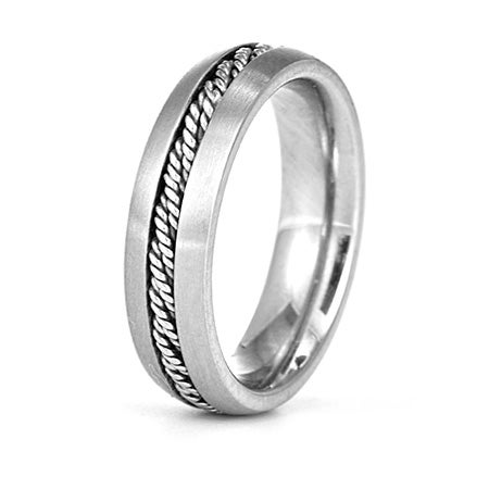 Men's Engravable Band with Rope Inlay | Eve's Addiction®