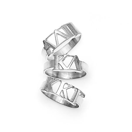 Sorority Greek Letter Ring in Sterling Silver | Eve's Addiction®