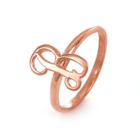 Handcrafted Rose Gold Script Initial Ring | Eve's Addiction®