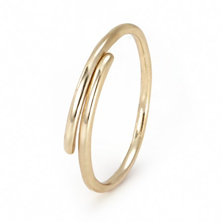 Gold Plated Dainty Crossover Ring | Eve's Addiction®