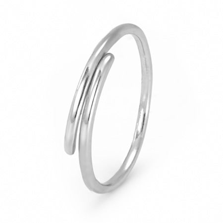 Sterling Silver Petite Thin Crossover Ring | Eve's Addiction®