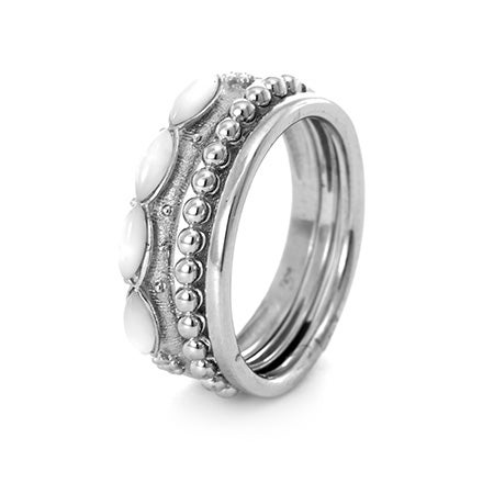 Mother Of Pearl Stackable Ring Trio   Eve's Addiction®
