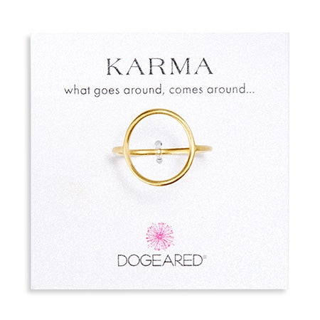 Dogeared Karma Medium Smooth Gold Ring