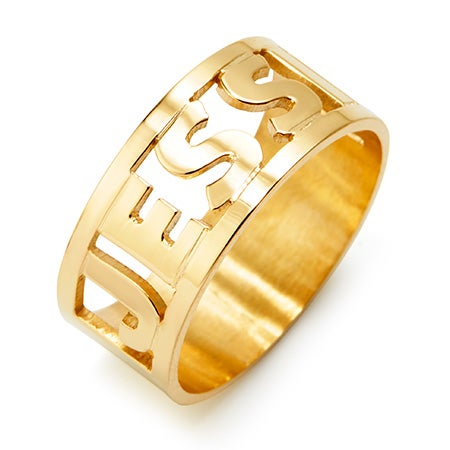 Cut Out Block Gold Name Ring | Custom Name Ring