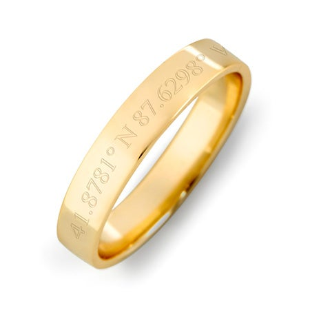 Custom Coordinate 4mm Gold Ring