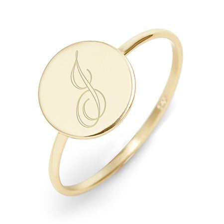 Custom Made Gold Plated Initial Signet Ring Online