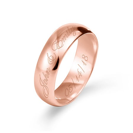 6mm Custom Made Rose Gold Message Ring | Eves Addiction