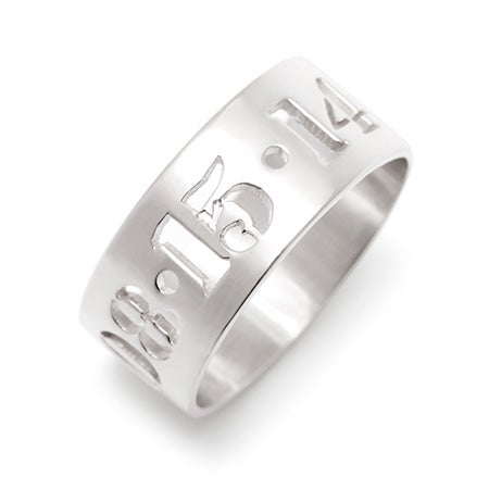 Silver Cut Out Ring With Date | Eve's Addiction Jewelry