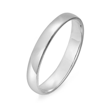14k White Gold 3mm Classic Engravable Wedding Band | Eve's Addiction®
