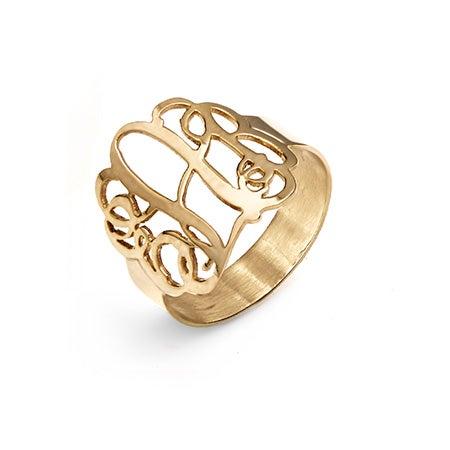 14K Solid Gold Fancy Script Monogram Ring | Eve's Addiction®