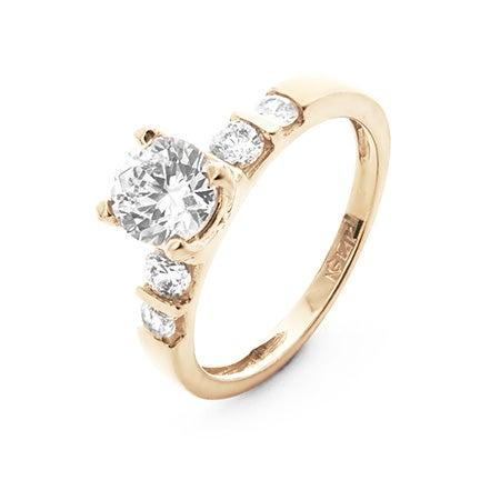 14K Gold 6mm Brilliant Cut CZ Engagement Ring with Detailed Band | Eve's Addiction®