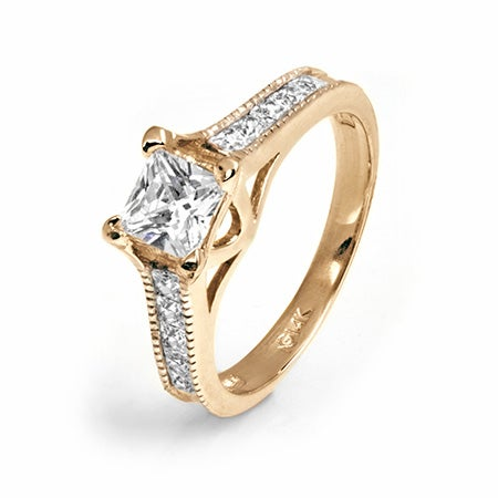 14K Gold Princess Cut Channel Set CZ Engagement Ring | Eve's Addiction®