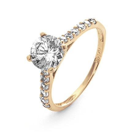 14K Gold Brilliant Cut CZ Engagement Ring with CZ Band | Eve's Addiction®