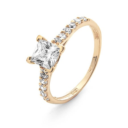 14K Gold Princess Cut Engagement Ring with CZ Band | Eve's Addiction®