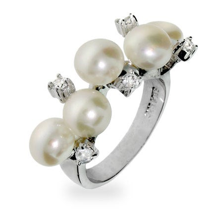 Scattered Pearls and CZs Sterling Silver Ring | Eve's Addiction®