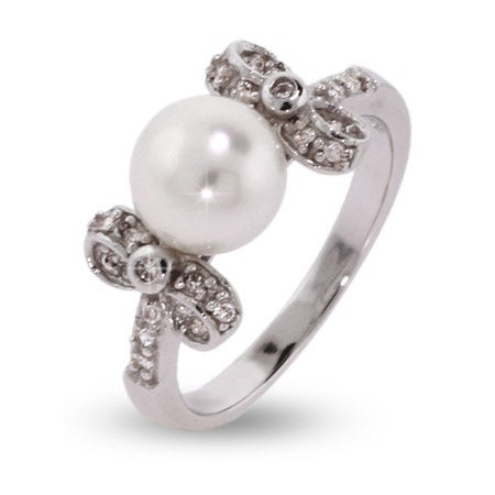 Pretty Pearl Sterling Silver Ring with CZ Bows | Eve's Addiction®