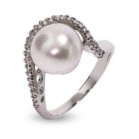 Sterling Silver Pearl Wave Ring | Eve's Addiction®