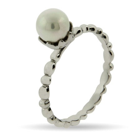Single Pearl Silver Stackable Ring | Eve's Addiction®