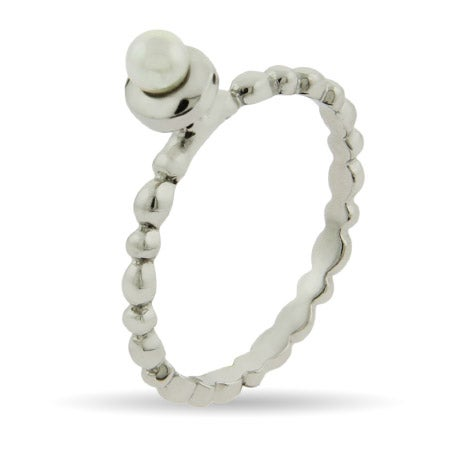 Pearl with Beaded Band Stackable Ring | Eve's Addiction®