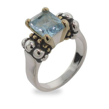 Designer Inspired Ring with Blue Topaz Cubic Zirconia | Eve's Addiction®