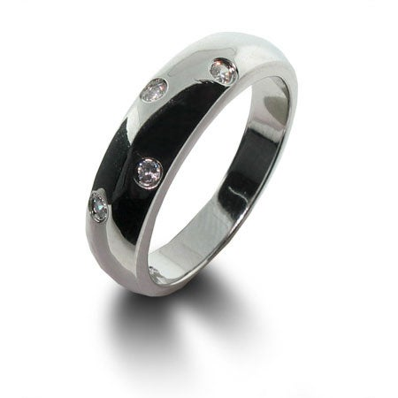 Designer Style Twinkling Ring in Sterling Silver and White CZ | Eve's Addiction®