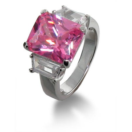 Celebrity Style Pink Cubic Zirconia Engagement Ring | Eve's Addiction®