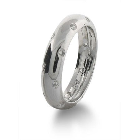 Designer Style Twinkling Band with Inlaid Cubic Zirconia | Eve's Addiction®