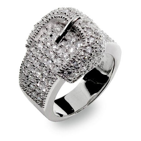 White Pave Cubic Zirconia and Sterling Silver Belt Ring | Eve's Addiction®