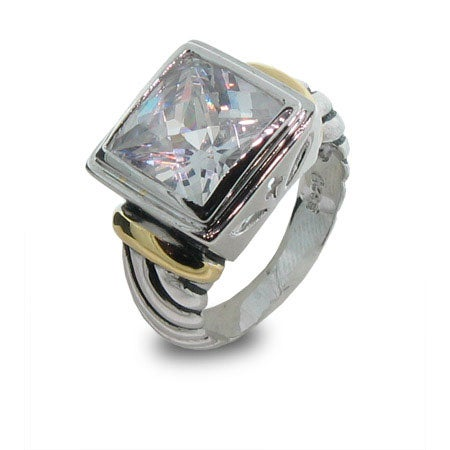 Designer Inspired Cable Ring with White Cubic Zirconia | Eve's Addiction®