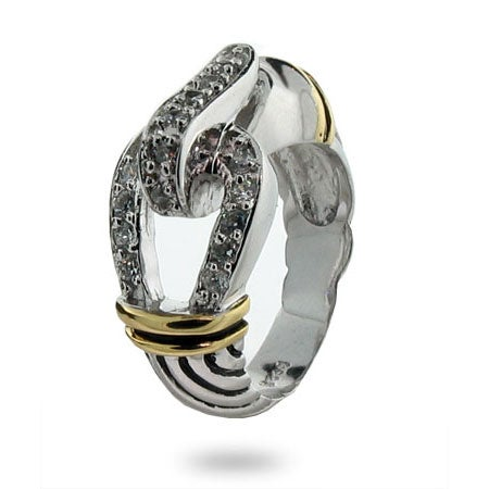 Designer Inspired Belt Buckle Ring with Pave Cubic Zirconia | Eve's Addiction®