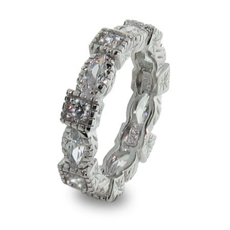 Sterling Silver Stackable Band with Diamond Cubic Zirconias | Eve's Addiction®