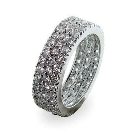 Designer Inspired Silver Band with Triple Row Cubic Zirconias | Eve's Addiction®