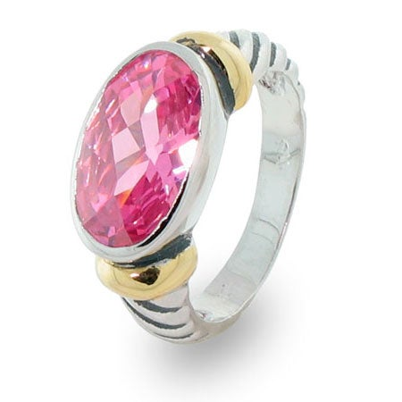 Designer Inspired Oval Pink Cubic Zirconia Cable Ring | Eve's Addiction®