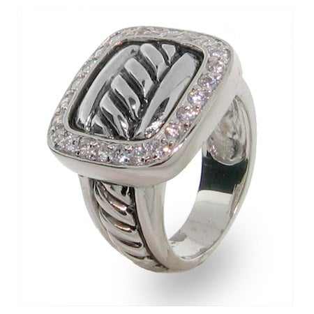 Designer Inspired Sterling Silver Pave Buckle Ring   Eve's Addiction®