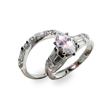 Sterling Silver Marquise Cubic Zirconia Ring Set | Eve's Addiction®