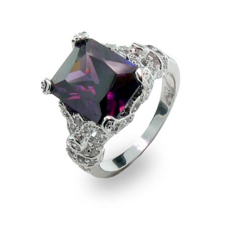 Sterling Silver Amethyst CZ Ring with Diamond CZ Design | Eve's Addiction®