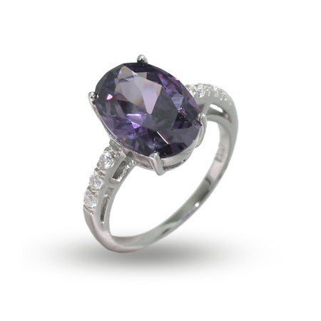 Amethyst CZ & Diamond CZ Cocktail Ring in Sterling Silver | Eve's Addiction®
