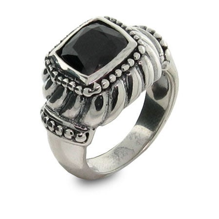 Designer Inspired Black Onyx Square Ring | Eve's Addiction®