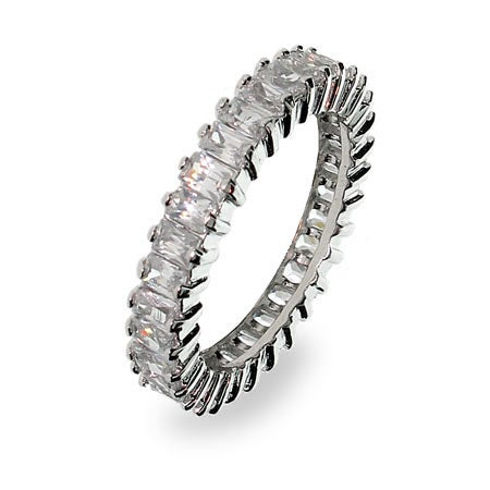 Sterling Silver Baguette Cut Cubic Zirconia Anniversary Band | Eve's Addiction®