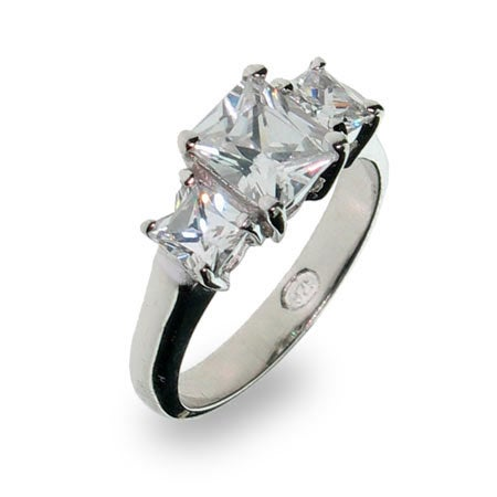 Past Present and Future 3 Stone Princess CZ Anniversary Ring | Eve's Addiction®