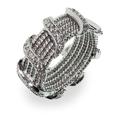 Designer Style Silver Rope Band with Cubic Zirconia Waves | Eve's Addiction®