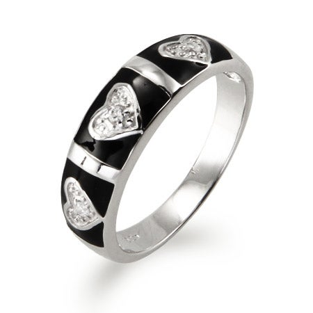 CZ Heart and Bar Black Enamel Ring | Eve's Addiction