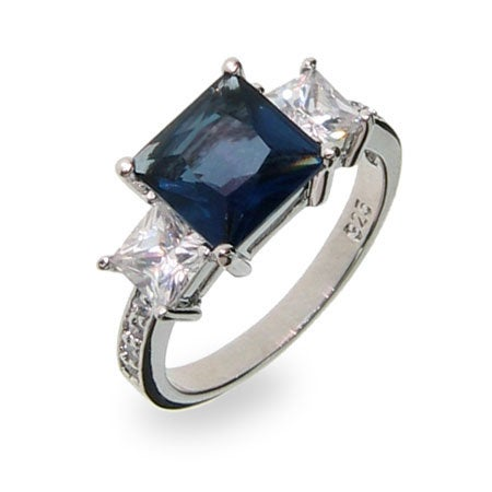 Sterling Silver Sapphire CZ Three Stone Ring | Eve's Addiction®