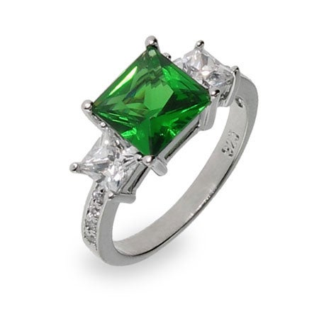 Sterling Silver Emerald CZ Three Stone Ring | Eve's Addiction®