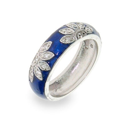 Sterling Silver Blue Enamel CZ Daisy Ring | Eve's Addiction®