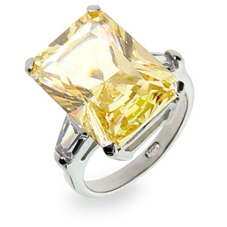 Celebrity Inspired Canary CZ Engagement Ring | Eve's Addiction®