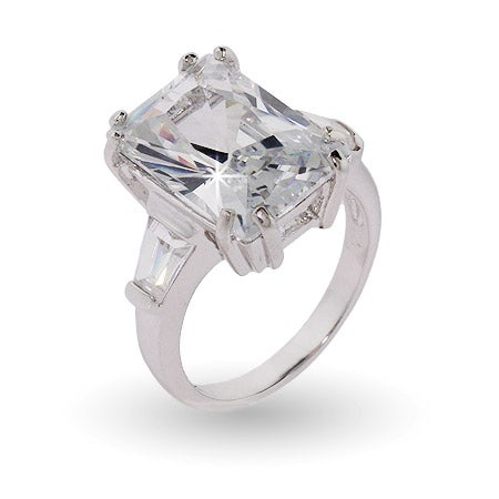 Sterling Silver Elegant Diamond CZ Engagement Ring | Eve's Addiction®